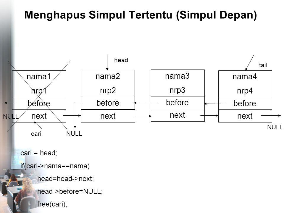 Menghapus Simpul Tertentu (Simpul Depan) nama4 nrp4 before NULL tail nama1 nrp1 before head next nama2 nrp2 before next nama3 nrp3 before next NULL cari = head; if(cari->nama==nama) head=head->next; head->before=NULL; free(cari); cari NULL