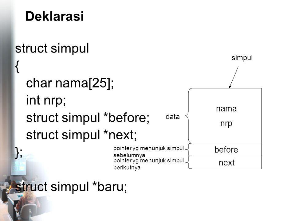 Mencari Simpul Tertentu nama4 nrp4 before NULL tail nama1 nrp1 before head next nama2 nrp2 before next nama3 nrp3 before next NULL cari = head; cari