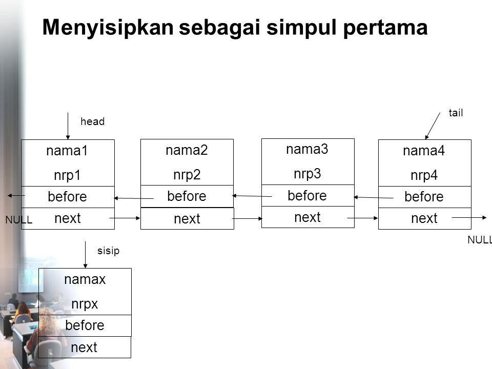 Menyisipkan sebagai simpul pertama nama4 nrp4 before NULL tail nama1 nrp1 before head next nama2 nrp2 before next nama3 nrp3 before next NULL namax nrpx before sisip next