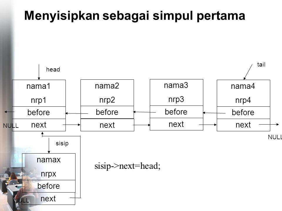 Menyisipkan sebagai simpul pertama nama4 nrp4 before NULL tail nama1 nrp1 before head next nama2 nrp2 before next nama3 nrp3 before next NULL namax nrpx before sisip next sisip->next=head; NULL