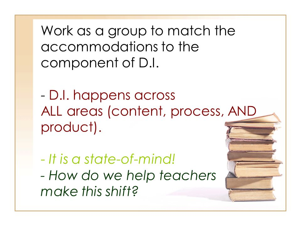 Work as a group to match the accommodations to the component of D.I.