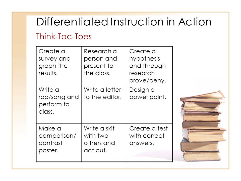 Differentiated Instruction in Action Think-Tac-Toes Create a survey and graph the results.