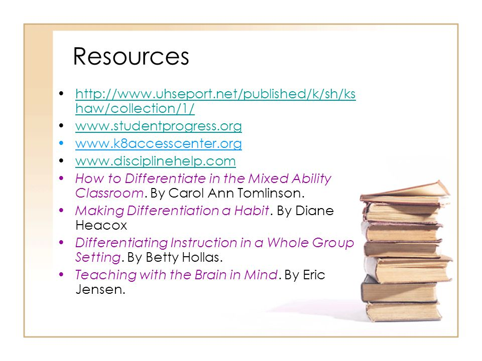 Resources http://www.uhseport.net/published/k/sh/ks haw/collection/1/http://www.uhseport.net/published/k/sh/ks haw/collection/1/ www.studentprogress.org www.k8accesscenter.org www.disciplinehelp.com How to Differentiate in the Mixed Ability Classroom.