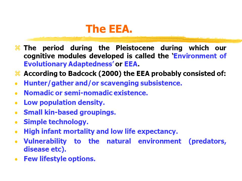 The EEA. zThe period during the Pleistocene during which our cognitive modules developed is called the 'Environment of Evolutionary Adaptedness' or EE