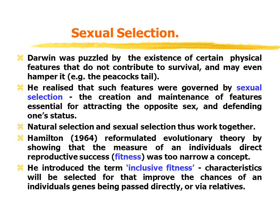 Sexual Selection. zDarwin was puzzled by the existence of certain physical features that do not contribute to survival, and may even hamper it (e.g. t