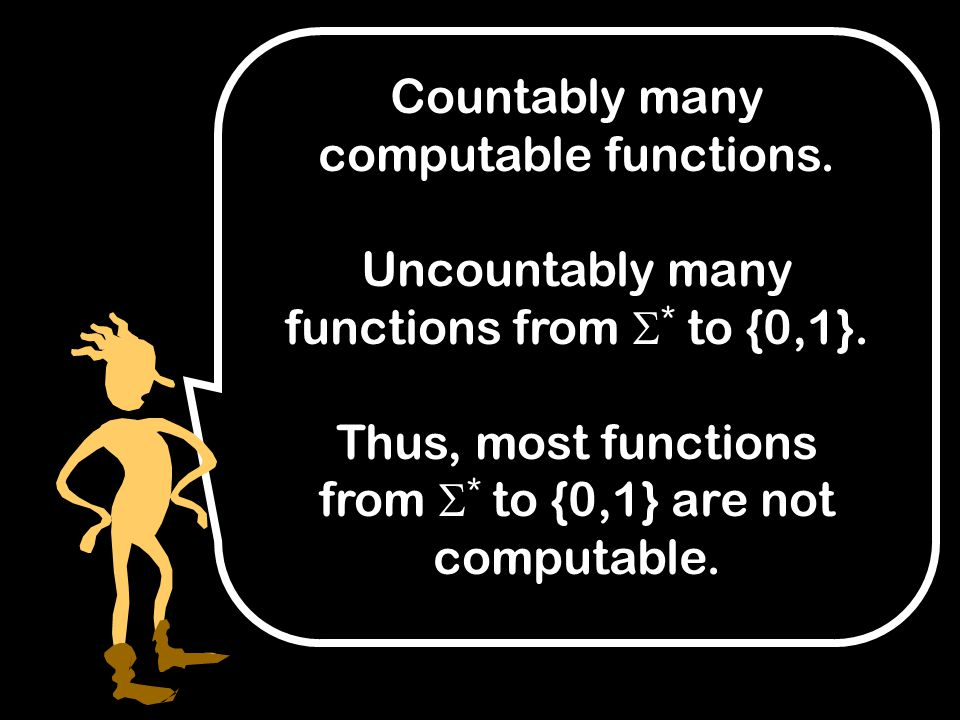Countably many computable functions. Uncountably many functions from  * to {0,1}.
