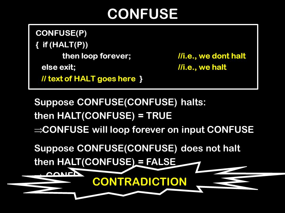 CONFUSE CONFUSE(P) { if (HALT(P)) then loop forever;//i.e., we dont halt else exit;//i.e., we halt // text of HALT goes here } Suppose CONFUSE(CONFUSE) halts: then HALT(CONFUSE) = TRUE  CONFUSE will loop forever on input CONFUSE Suppose CONFUSE(CONFUSE) does not halt then HALT(CONFUSE) = FALSE  CONFUSE will halt on input CONFUSE CONTRADICTION