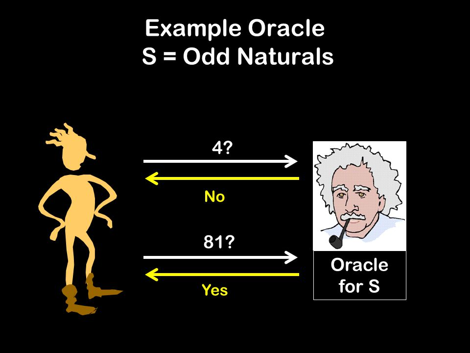 Example Oracle S = Odd Naturals Oracle for S 4 No 81 Yes