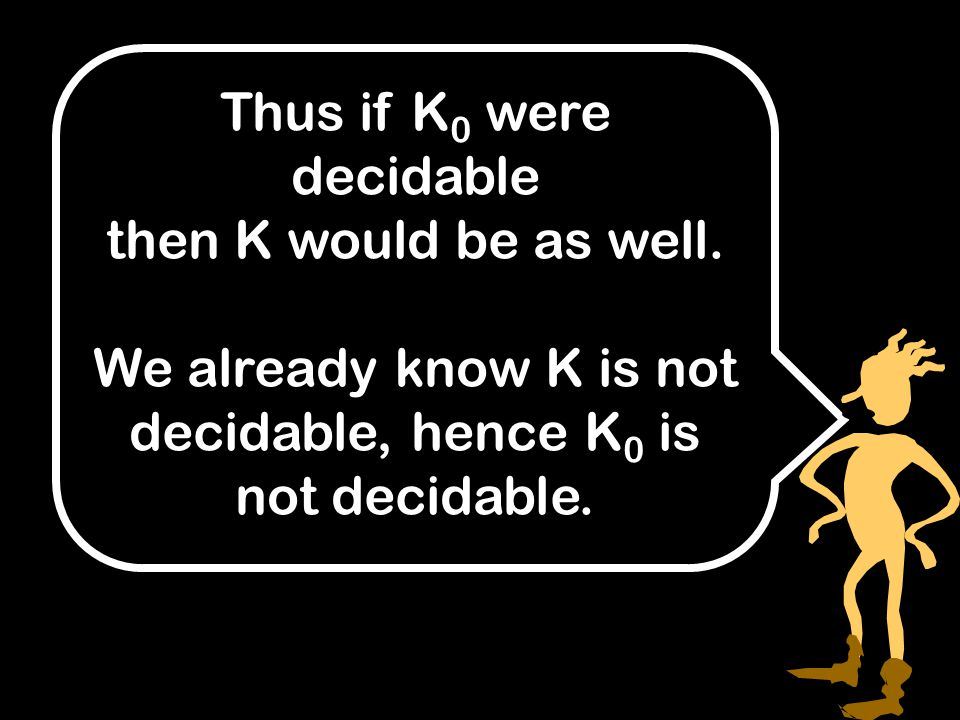 Thus if K 0 were decidable then K would be as well.
