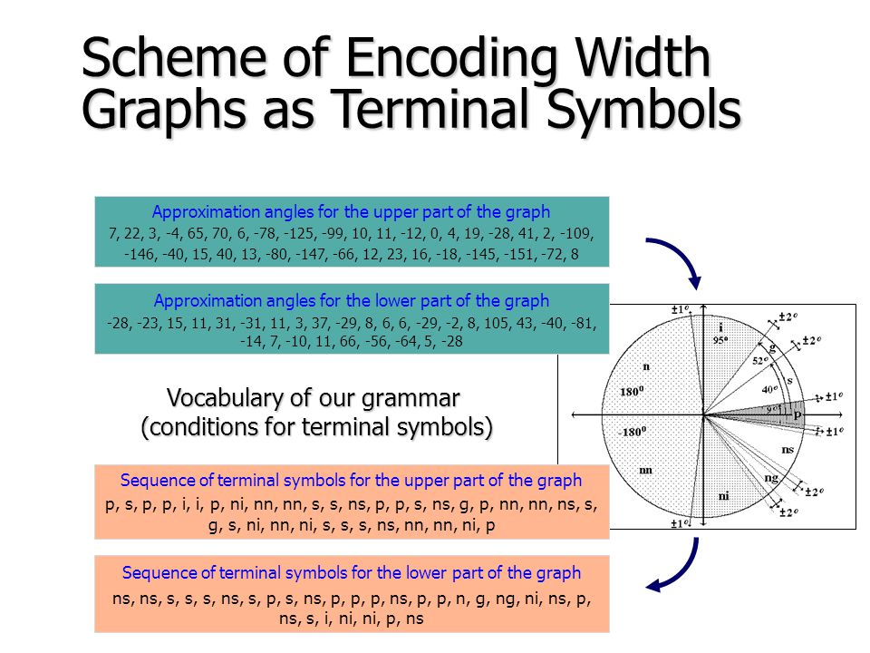 Vocabulary of the grammar Scheme of Encoding Width Graphs as Terminal Symbols Image features: angles between segments of polygon line approximating of width graph of the organ Terminal symbols as elements of linguistic description taking into account merit sense of the image Please note unusually form of the vocabulary!
