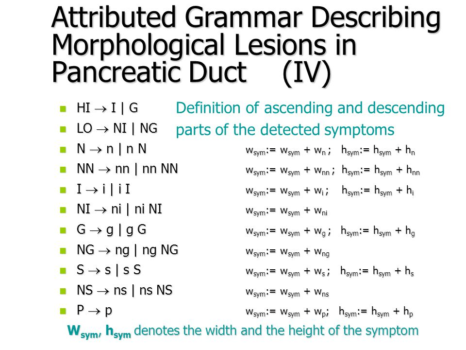 Attributed Grammar Describing Morphological Lesions in Pancreatic Duct (III) n CYST  HI P LO | HI S LO | HI NS LO n STENOSIS  NS S | NS G | NS P S | NS P I n STENOSIS  NG S | NI NS I | NI S n DILATATION  S P NG | S G NS | S NS | G NS n BRANCH  I NI | I NS | S NG | G NI | G S NN | S NS NN n BRANCH  N G NG NI | I P NI NN | G P NN | G S NI NN Description of various forms of cysts, stenoses, shapes of branches and dilatations
