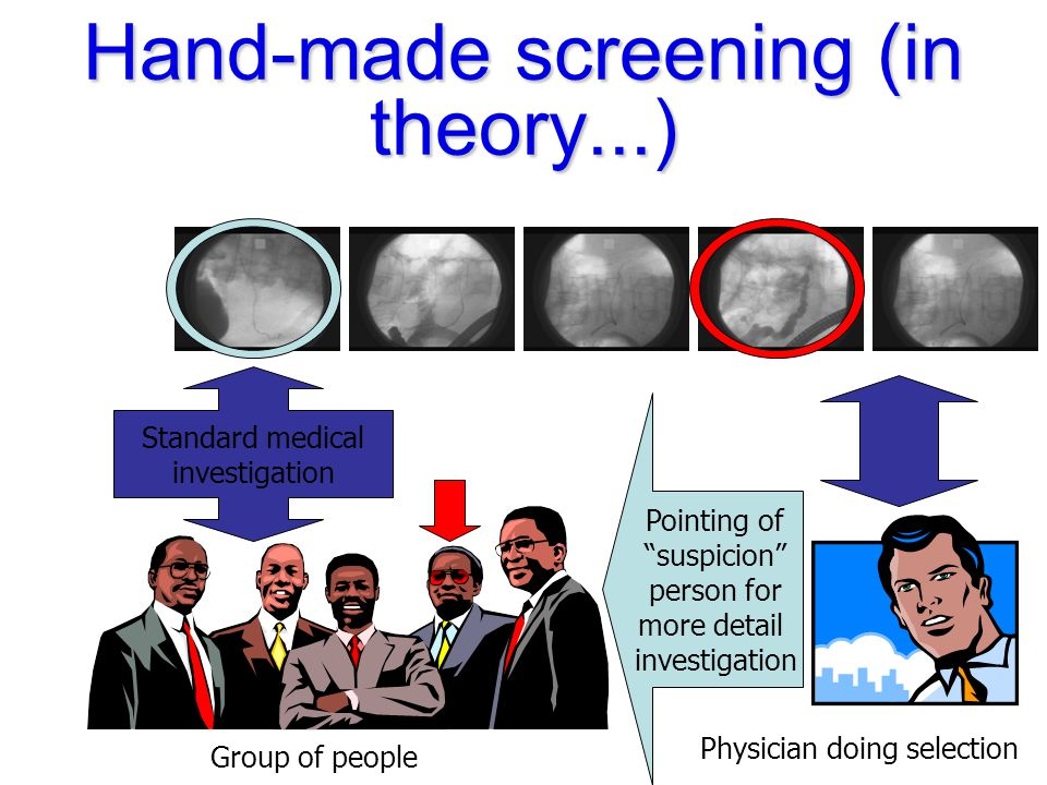 Screening (with automatic understanding of the images) T T Fast selection of the images for screening purposes