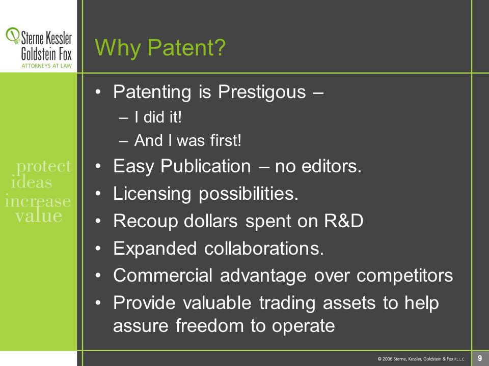 20 Planning for Successful Patent Protection 1) Identify Innovation 2) Evaluate Research, Product Development NEXT: 3) Invention Disclosure Form 4) Interact with Tech Transfer Office 5) Prepare disclosure 6) Patent application prepared