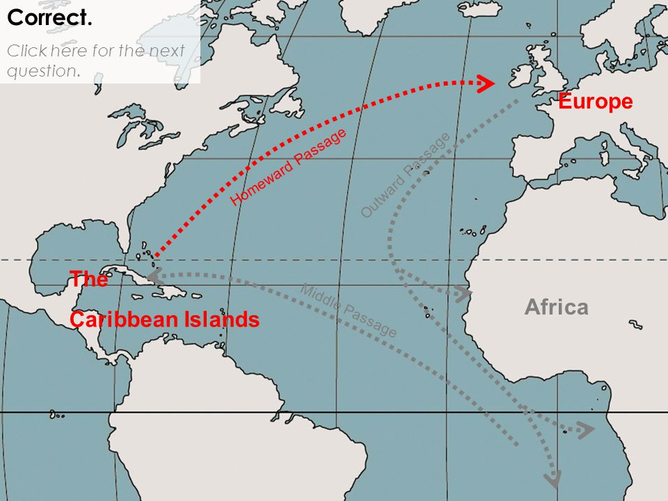 Africa Europe Correct. Click here for the next question. Middle Passage Outward Passage Homeward Passage The Caribbean Islands