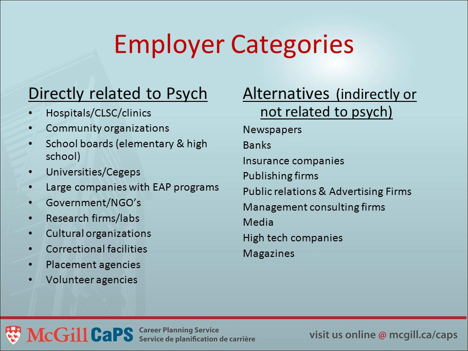 Employer Categories Directly related to Psych Hospitals/CLSC/clinics Community organizations School boards (elementary & high school) Universities/Cegeps Large companies with EAP programs Government/NGO's Research firms/labs Cultural organizations Correctional facilities Placement agencies Volunteer agencies Alternatives (indirectly or not related to psych) Newspapers Banks Insurance companies Publishing firms Public relations & Advertising Firms Management consulting firms Media High tech companies Magazines