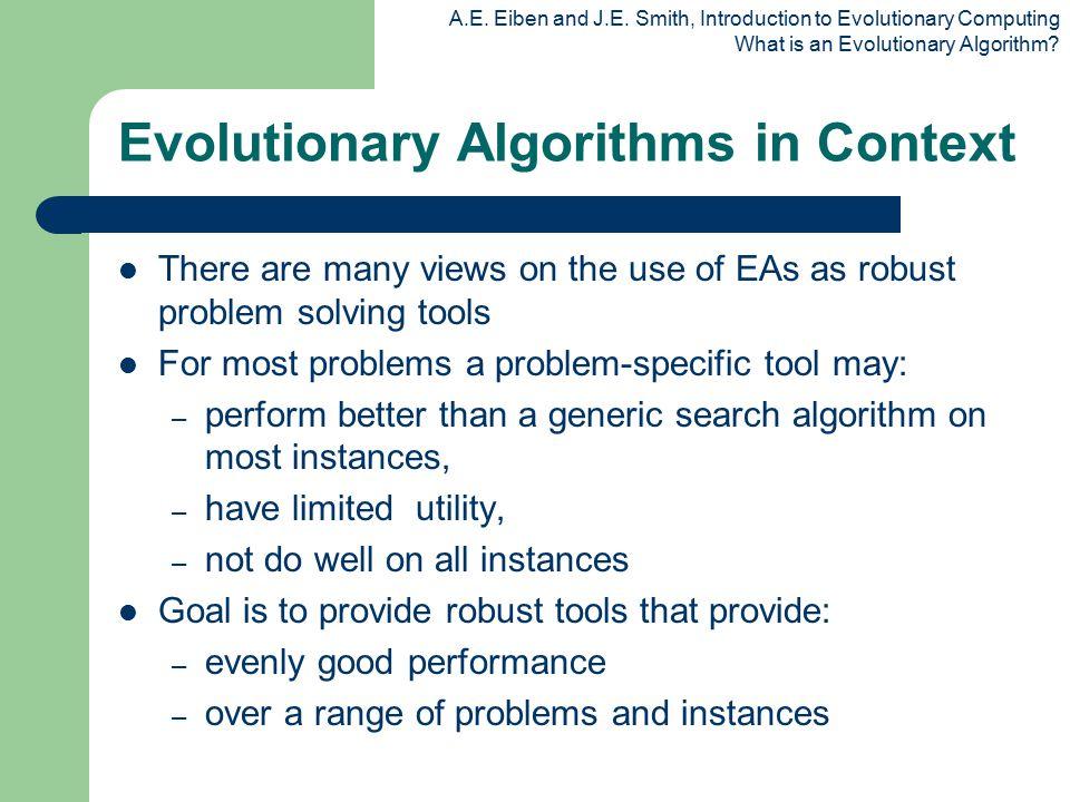 A.E. Eiben and J.E. Smith, Introduction to Evolutionary Computing What is an Evolutionary Algorithm? Evolutionary Algorithms in Context There are many