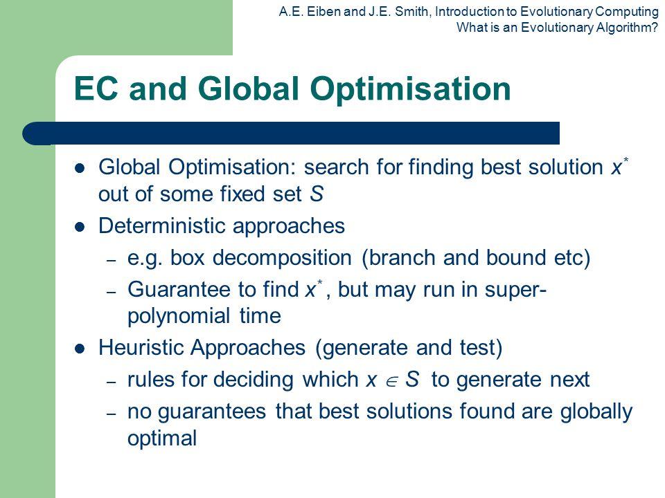 A.E. Eiben and J.E. Smith, Introduction to Evolutionary Computing What is an Evolutionary Algorithm? EC and Global Optimisation Global Optimisation: s
