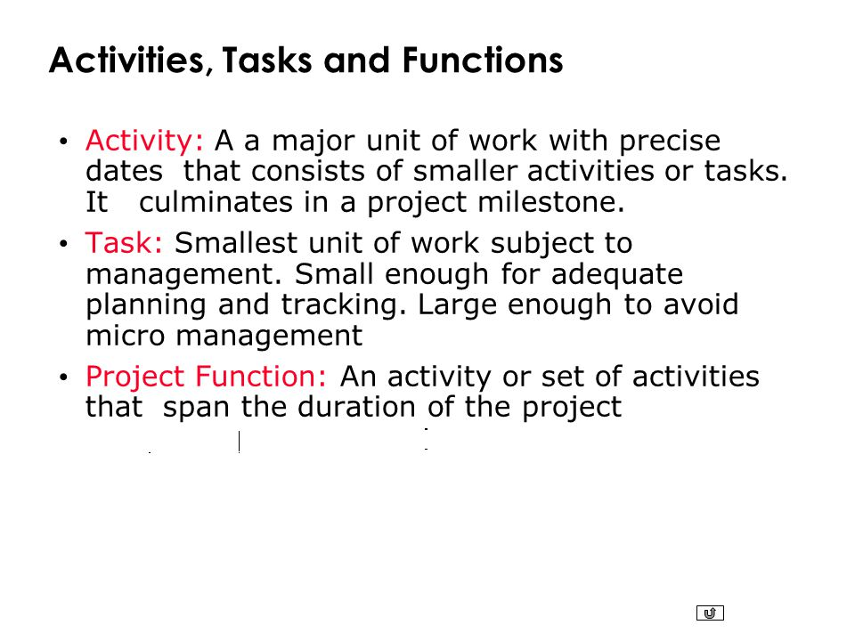 Activities, Tasks and Functions Activity: A a major unit of work with precise dates that consists of smaller activities or tasks. It culminates in a p