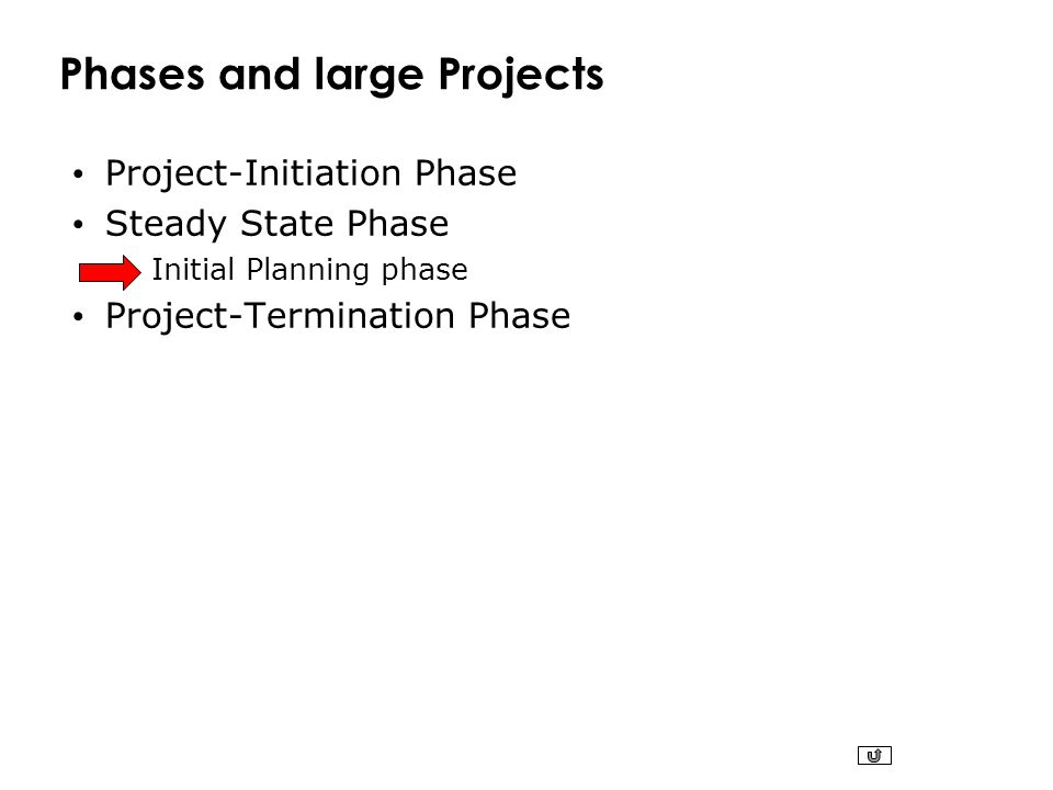 Phases and large Projects Project-Initiation Phase Steady State Phase Initial Planning phase Project-Termination Phase