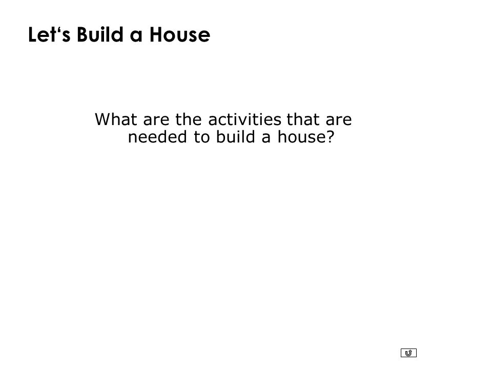 Let's Build a House What are the activities that are needed to build a house?