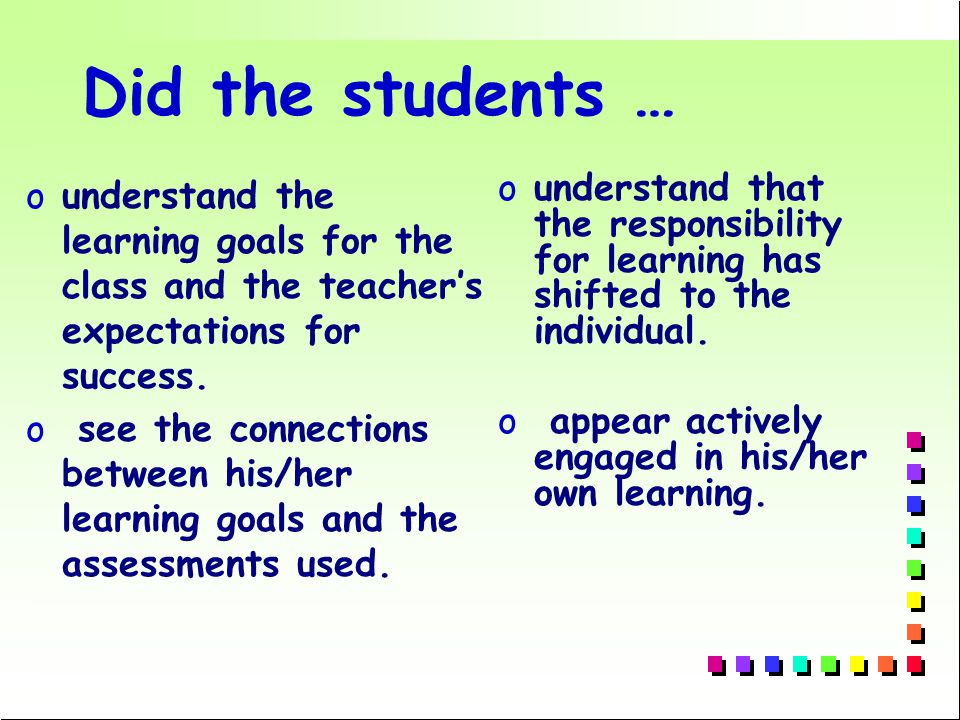 Did the students … ounderstand the learning goals for the class and the teacher's expectations for success.