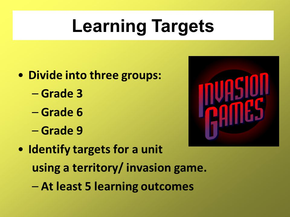 Divide into three groups: –Grade 3 –Grade 6 –Grade 9 Identify targets for a unit using a territory/ invasion game. –At least 5 learning outcomes Learn