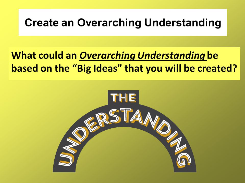 "Create an Overarching Understanding What could an Overarching Understanding be based on the ""Big Ideas"" that you will be created?"