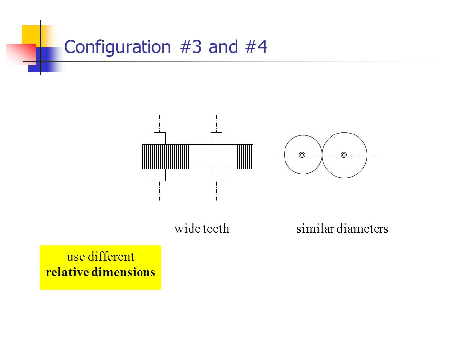 Configuration #3 and #4 use different relative dimensions wide teethsimilar diameters