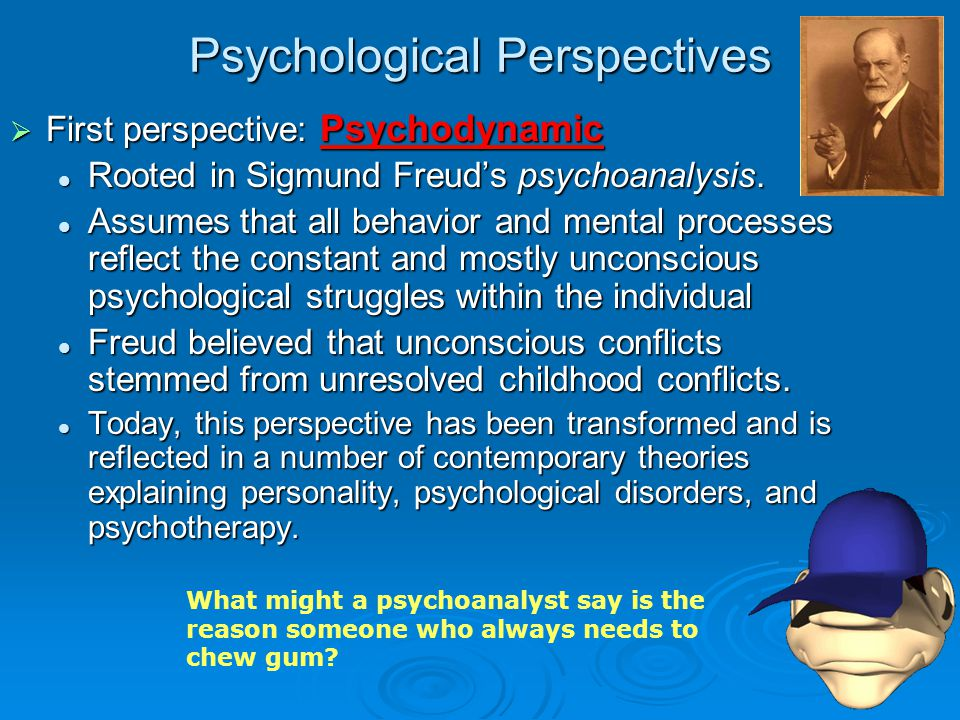 Psychological Perspectives  First perspective: Psychodynamic Rooted in Sigmund Freud's psychoanalysis. Rooted in Sigmund Freud's psychoanalysis. Assu