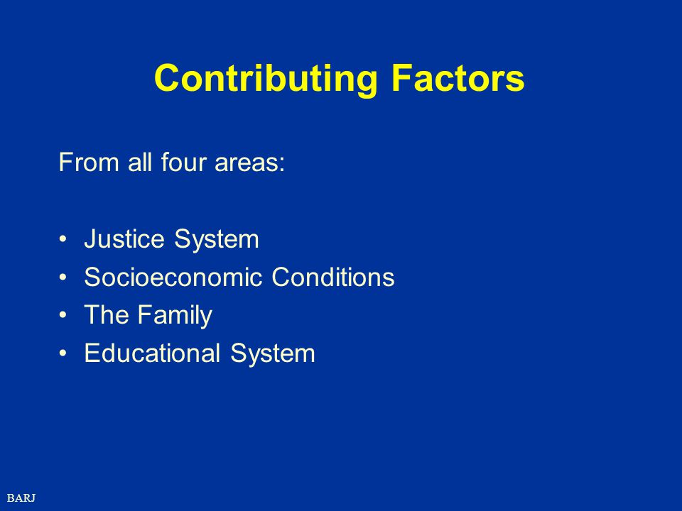 BARJ Contributing Factors From all four areas: Justice System Socioeconomic Conditions The Family Educational System