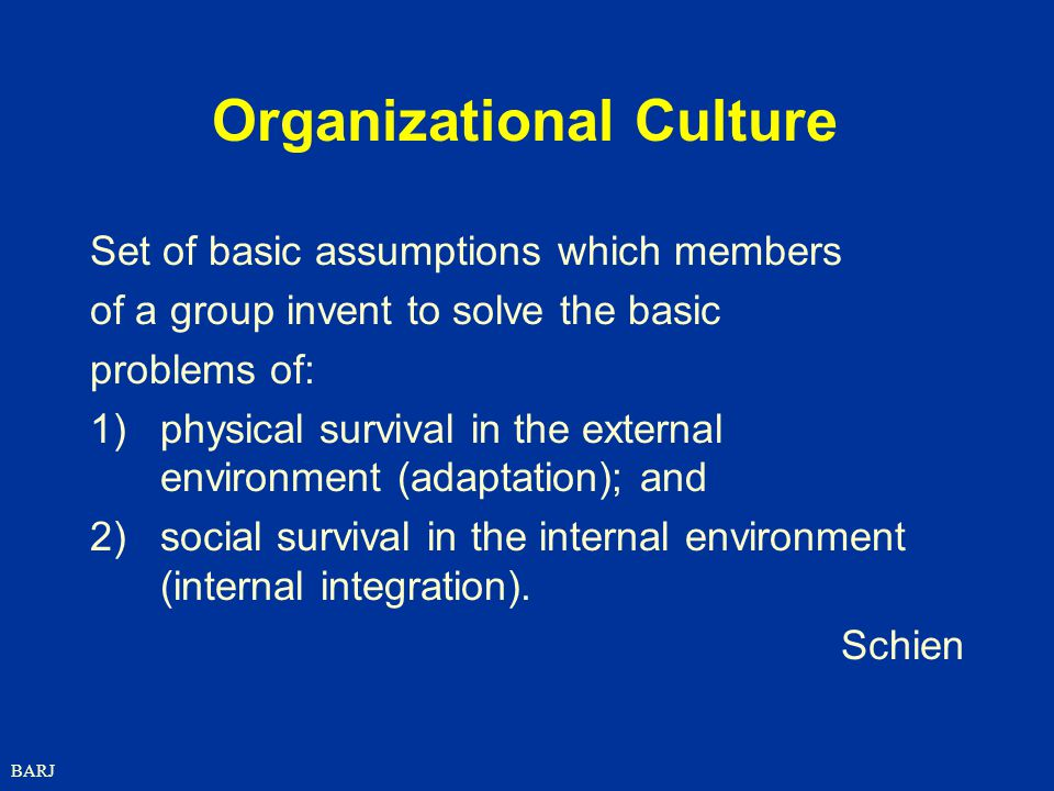BARJ Organizational Culture Set of basic assumptions which members of a group invent to solve the basic problems of: 1)physical survival in the external environment (adaptation); and 2)social survival in the internal environment (internal integration).