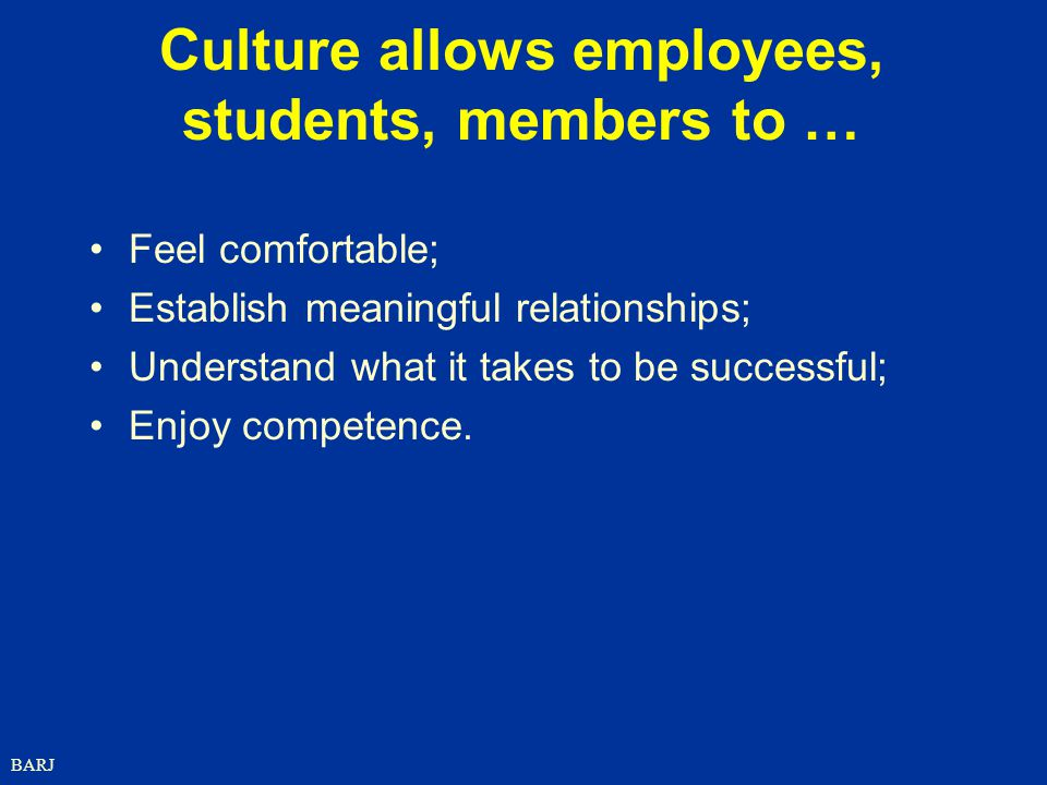 BARJ Culture allows employees, students, members to … Feel comfortable; Establish meaningful relationships; Understand what it takes to be successful; Enjoy competence.