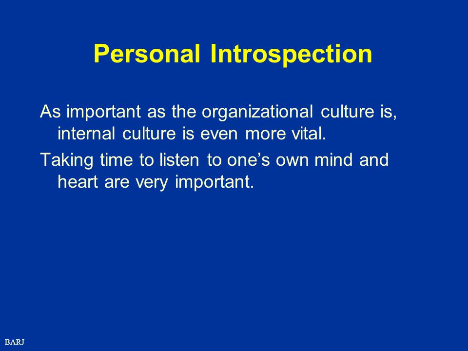 BARJ Personal Introspection As important as the organizational culture is, internal culture is even more vital.