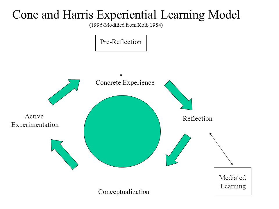 Cone and Harris Experiential Learning Model (1996-Modified from Kolb 1984) Pre-Reflection Concrete Experience Reflection Active Experimentation Conceptualization Mediated Learning