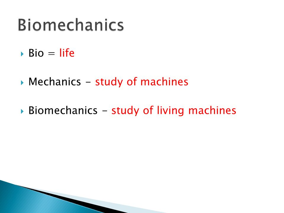  Bio = life  Mechanics - study of machines  Biomechanics - study of living machines