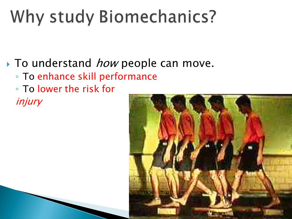  To understand how people can move. ◦ To enhance skill performance ◦ To lower the risk for injury