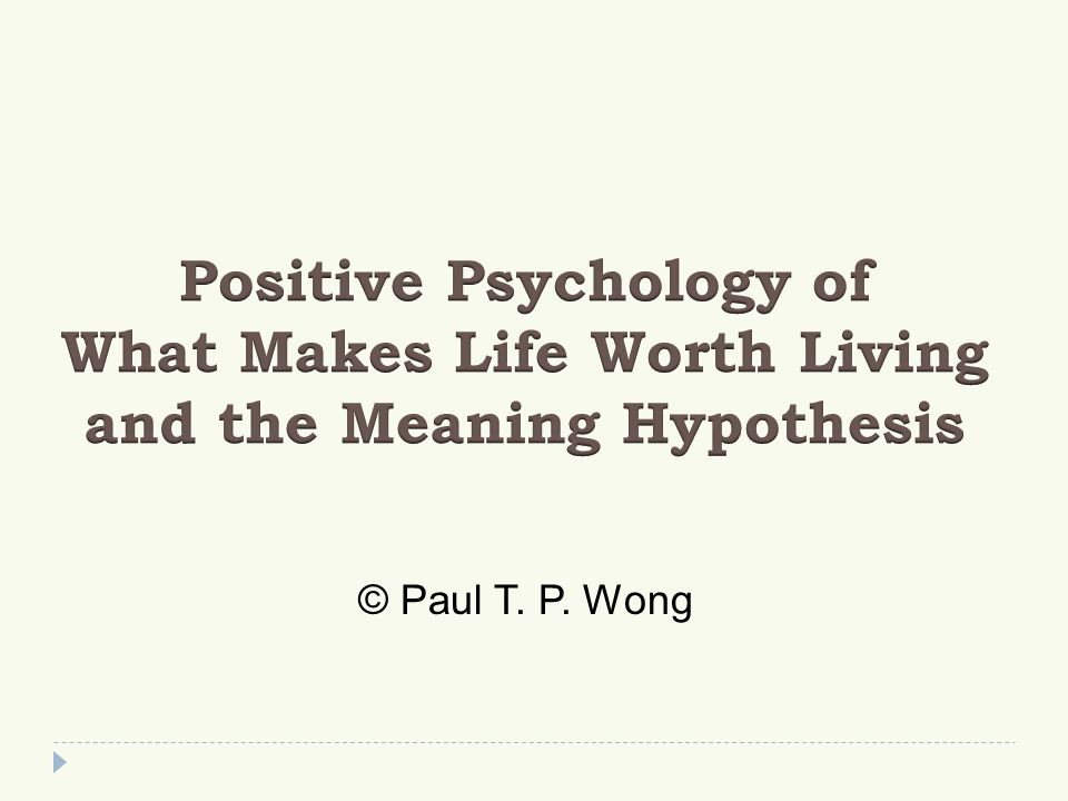 The Meaning Hypothesis  The capacity for meaning seeking and meaning making (both existential & cognitive meaning)  The primary motivation for meaning (both global meaning & situational meaning)  Meaning offers us the best protection against existential anxieties and the best hope of living a worthy & vital life  A meaning mindset is more adaptive than the success mindset.