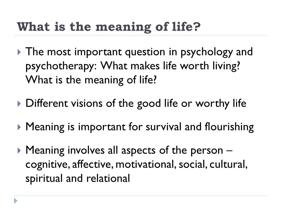 What is the meaning of life?  The most important question in psychology and psychotherapy: What makes life worth living? What is the meaning of life?