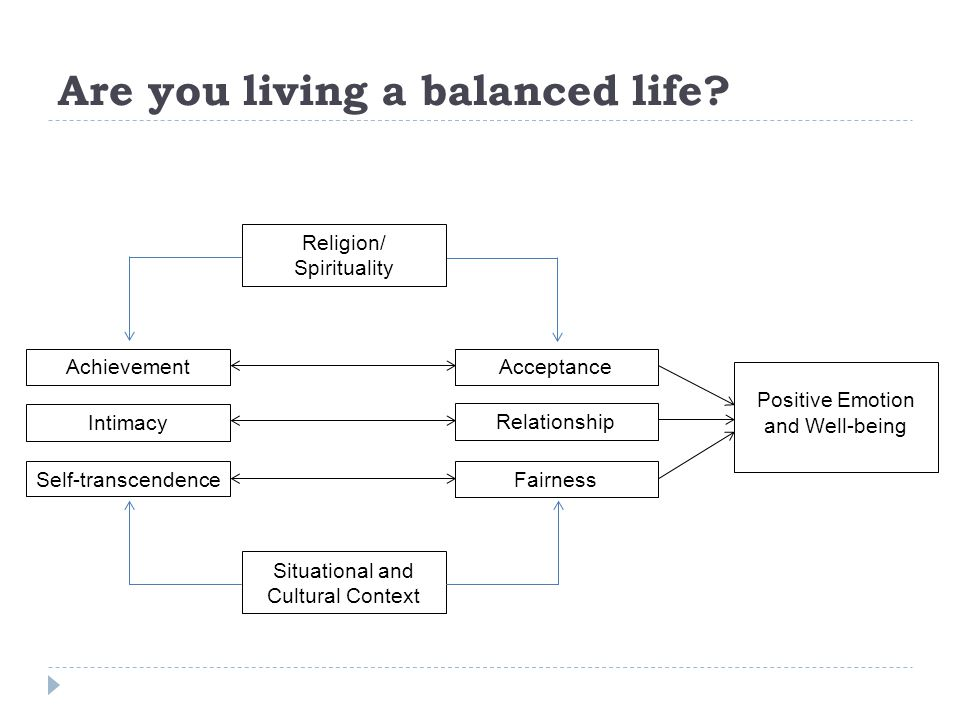Are you living a balanced life? Religion/ Spirituality Situational and Cultural Context AchievementAcceptance Self-transcendence Intimacy Relationship