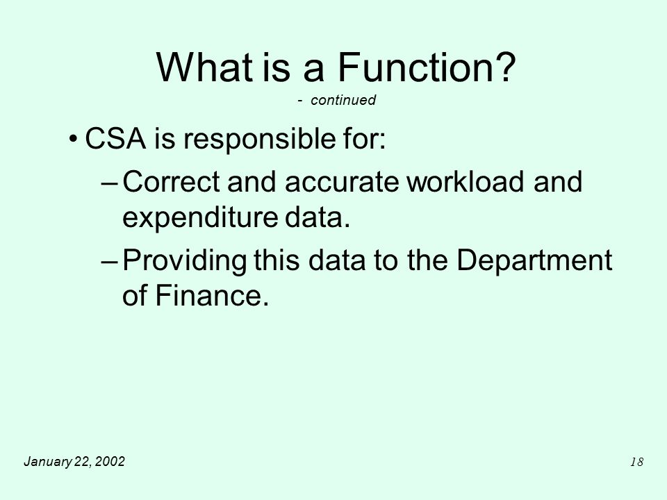 January 22, 200218 What is a Function.