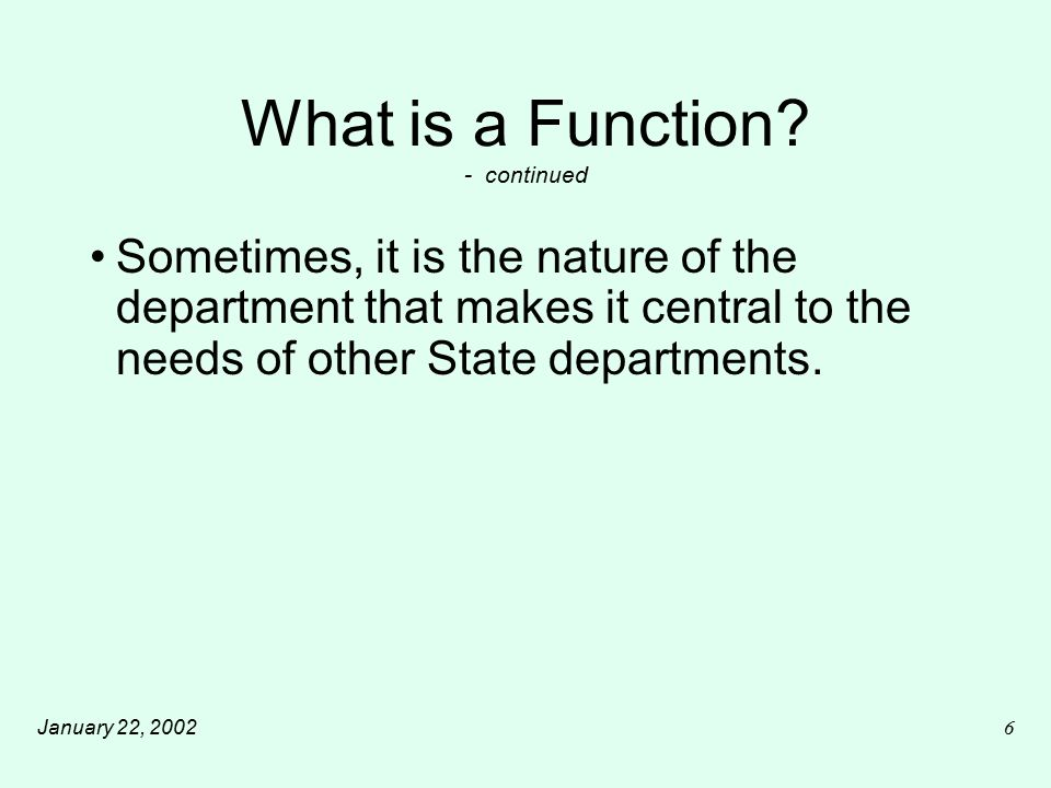 January 22, 20027 What is a Function.