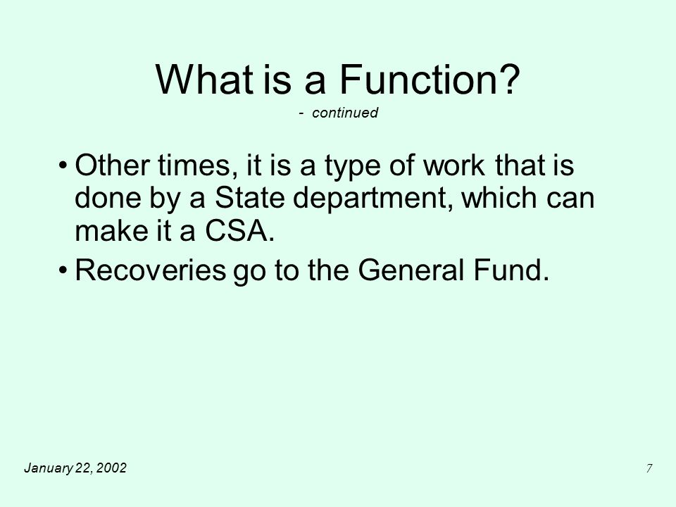 January 22, 20028 What is a Function.