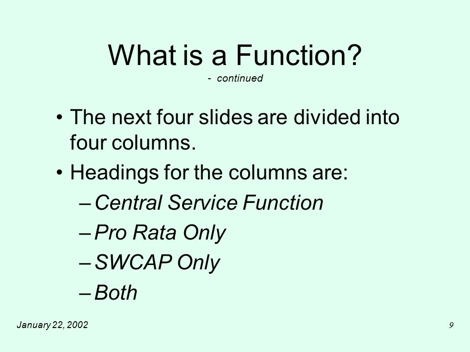 January 22, 200220 What is a Function.- continued CSA...