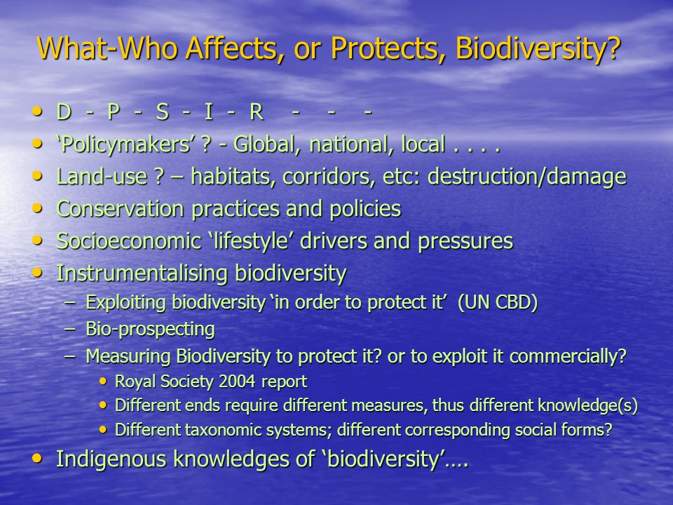 What-Who Affects, or Protects, Biodiversity.