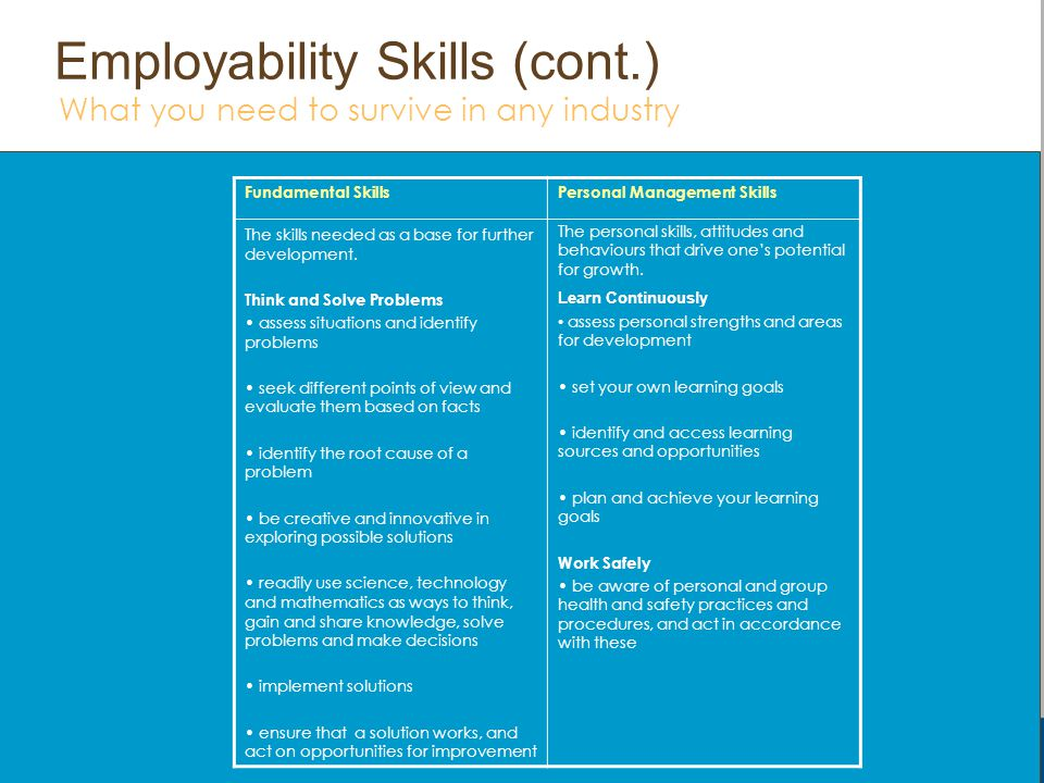 Fundamental Skills The skills needed as a base for further development You will be better prepared to progress in the world of work when you can: Mana