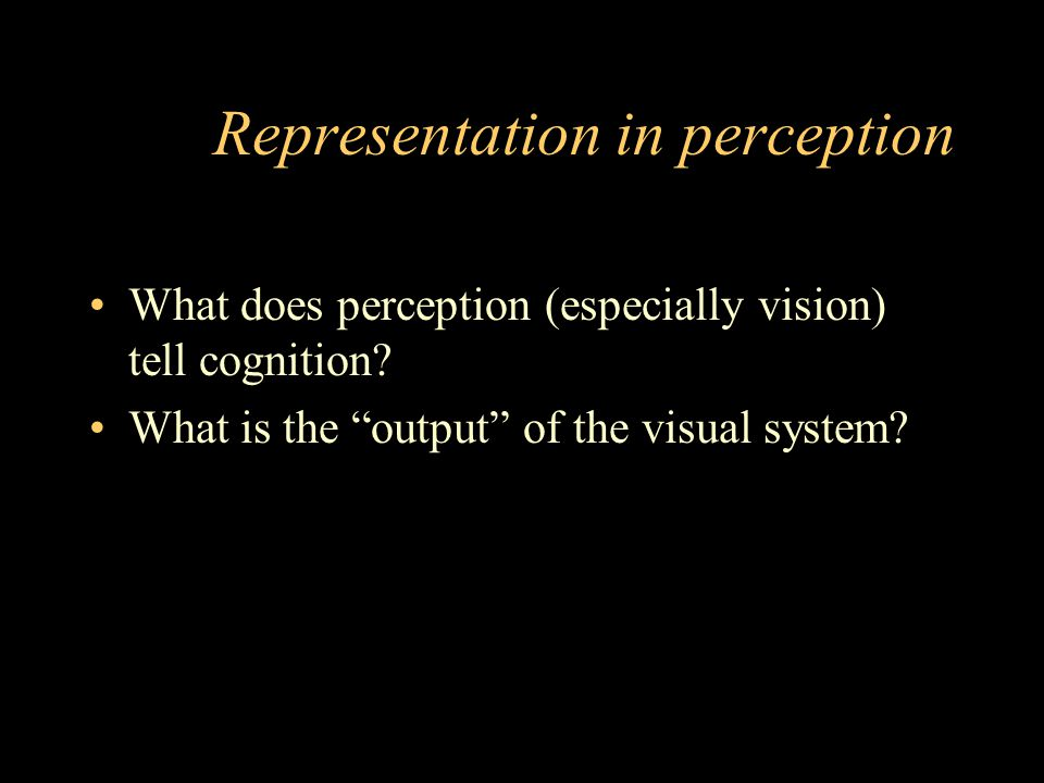 Representation in perception What does perception (especially vision) tell cognition.