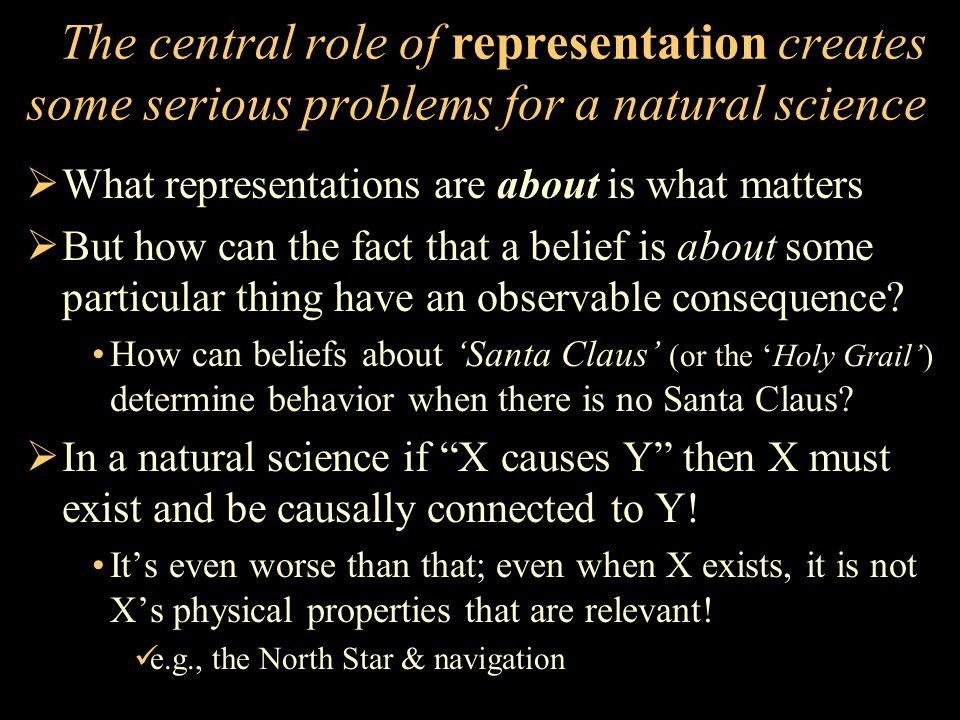 The central role of representation creates some serious problems for a natural science  What representations are about is what matters  But how can the fact that a belief is about some particular thing have an observable consequence.