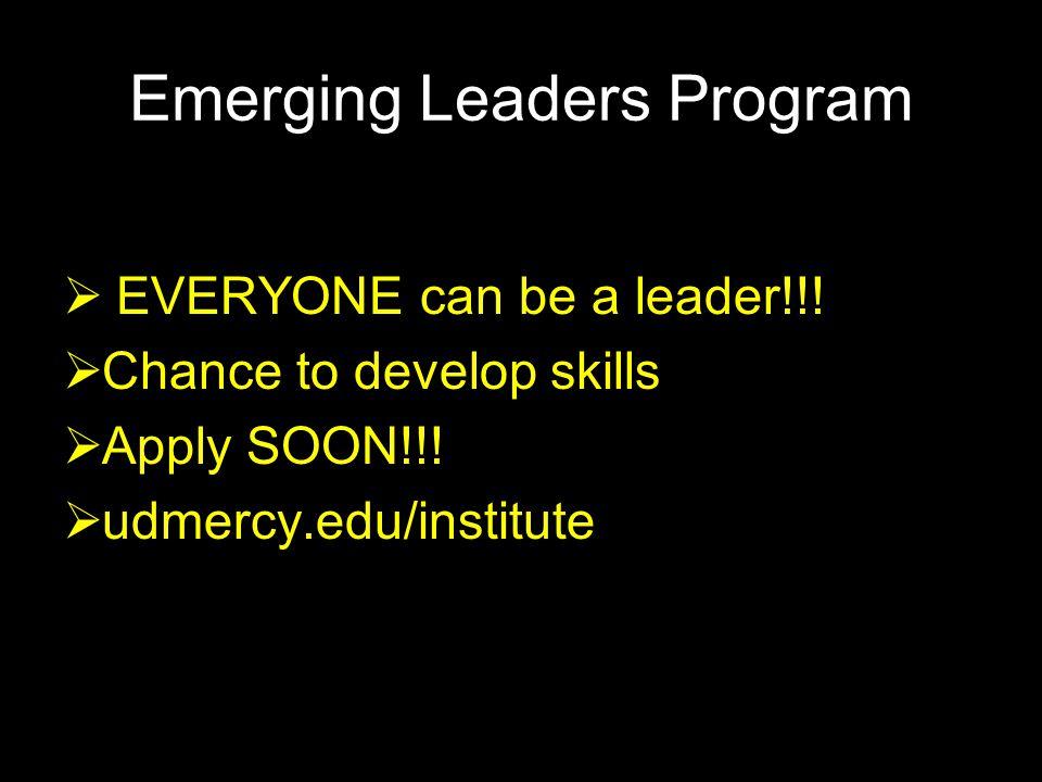 Emerging Leaders Program  EVERYONE can be a leader!!.
