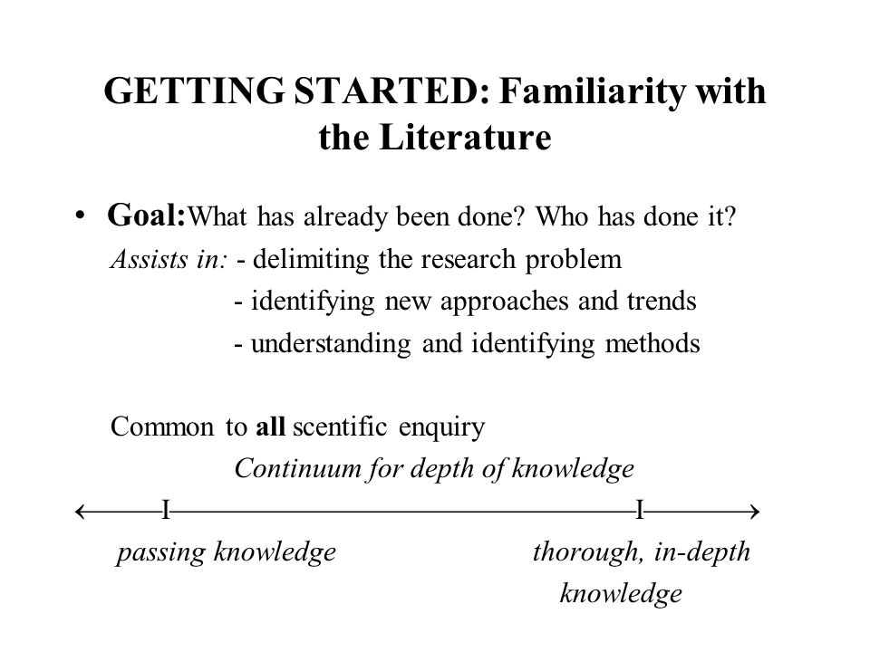 FAMILIARITY with the LITERATURE SOURCES - Indices, e.g.