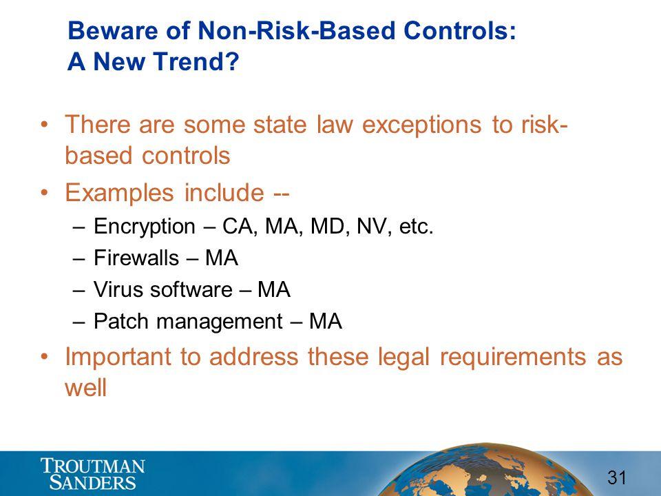 31 Beware of Non-Risk-Based Controls: A New Trend.